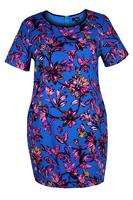 Lovedrobe Blue/Multi Floral Crepe Shift Dress